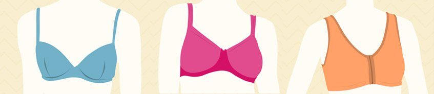 types of mastectomy bras - Front-Closure bra, cotton bra, soft mastectomy bra, t-shirt bra, sports bra after  breast surgery - Amoena
