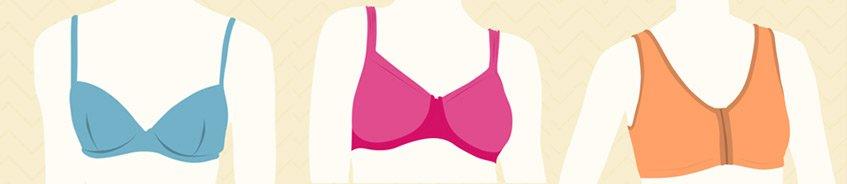 types of mastectomy bras - Front-Closure bra, cotton bra, soft mastectomy bra, t-shirt bra, sports bra after  breast surgery