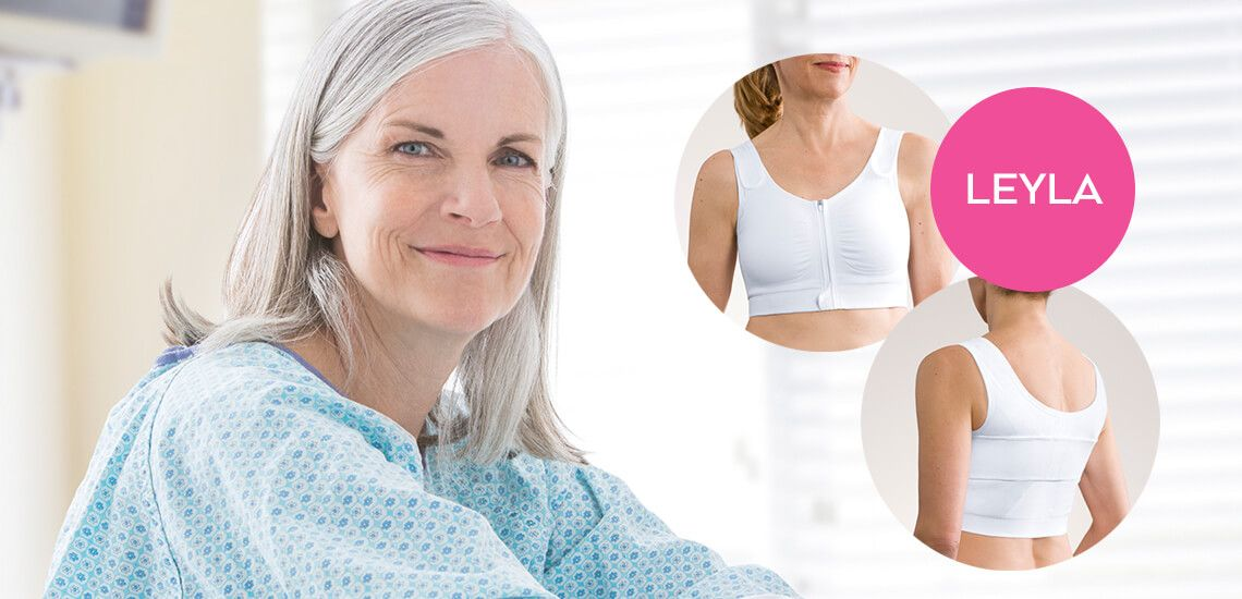 post op bra front zip fastening from Amoena for Breast Reconstruction, Mastectomy
