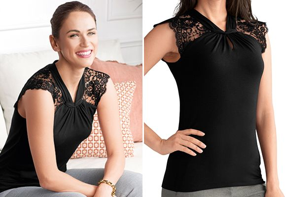 Amoena mastectomy v neck black top with lace with buid in bra