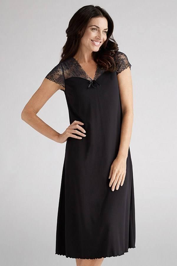 dd9eb7913f Lace Mastectomy Nightdress   Sleepwear - Black