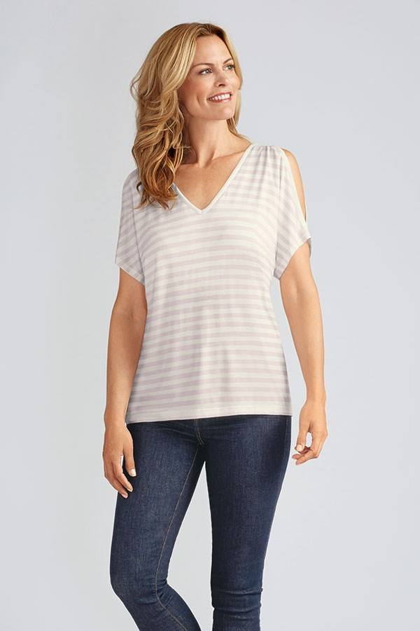 Stripe Cap Sleeve Shirt