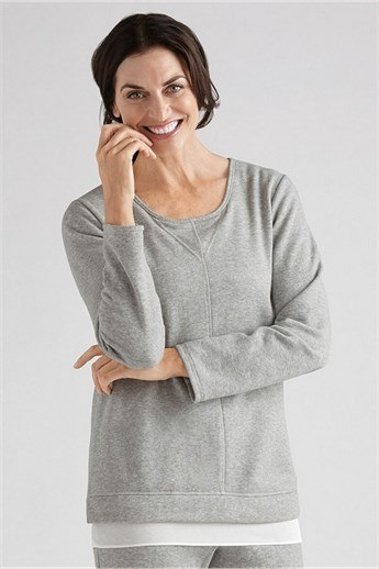 Melange Chiffon Long Sleeve Sweat