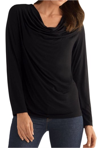 Waterfall Long-Sleeve Shirt - Comfy top with pocketed bra